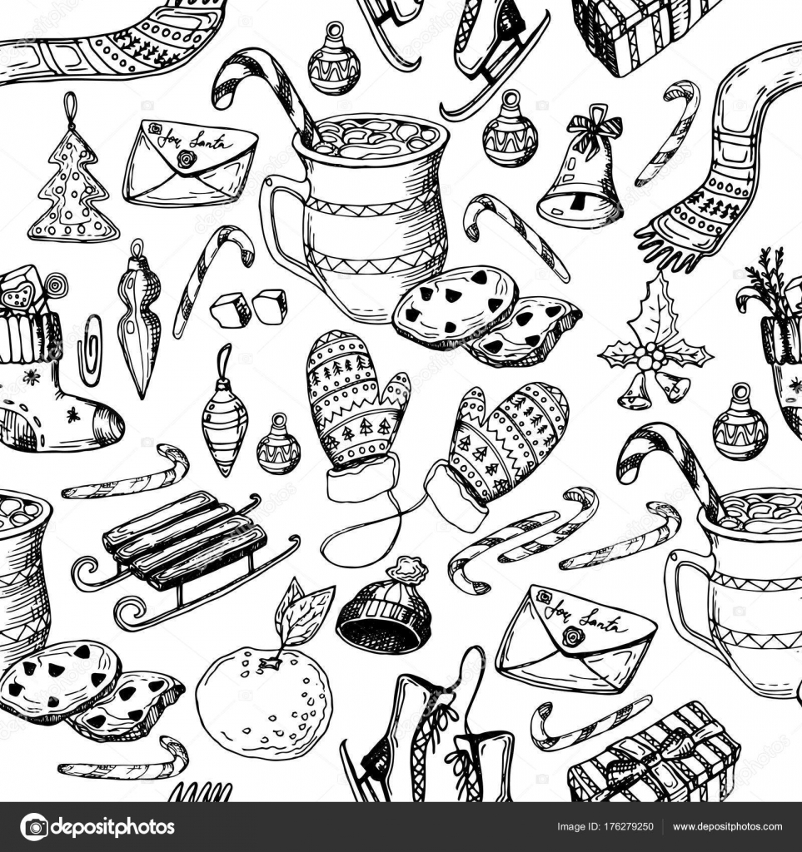 Modèle Sans Couture Noël Texture Illustration Dessin Croquis Main