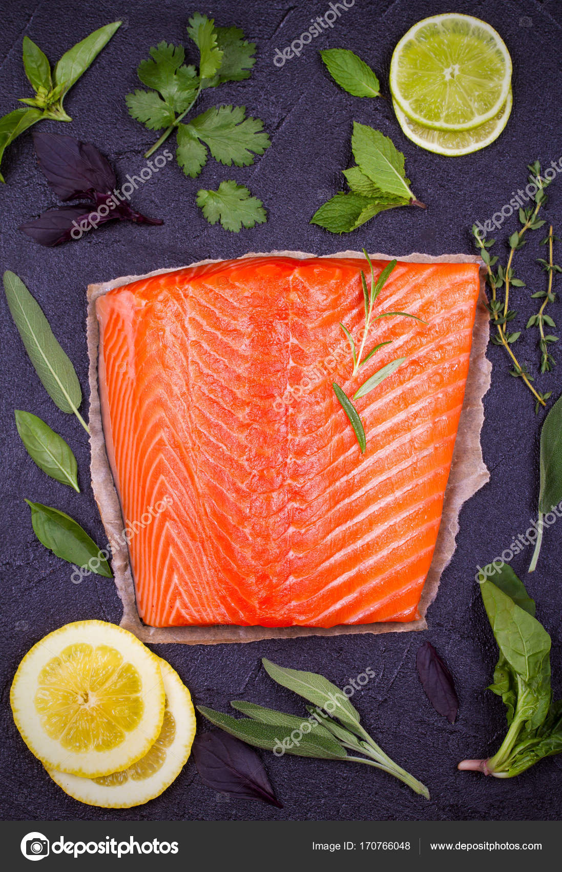 1429a0228df6 Fresh raw salmon fillet with sage