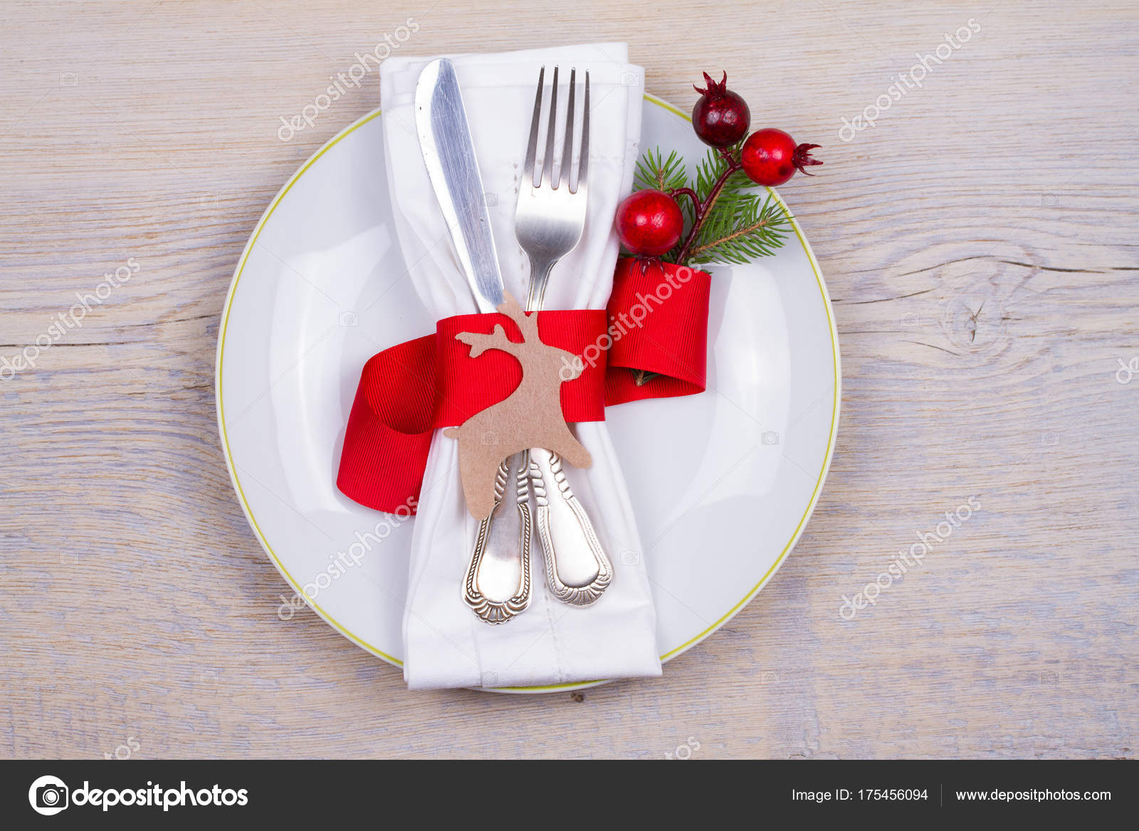 Christmas table setting with plate cutlery and red ribbon. Winter holidays and festive background. Christmas eve dinner New Year food lunch. & Christmas Table Setting Plate Cutlery Red Ribbon Winter Holidays ...