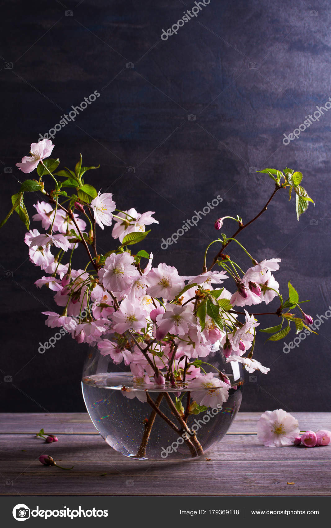 Spring Bouquet Glass Vase Vintage Wooden Background Pink Flowers ...