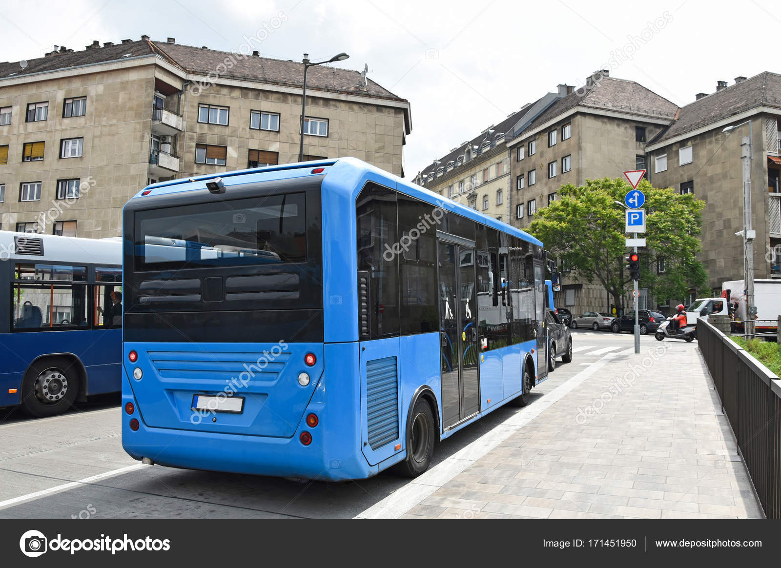 Blue Buses On The Streets Of Budapest Hungary Stock Photo C Majorosl66 171451950