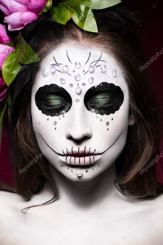 femme dans le maquillage halloween masque mexicain de santa muerte photographie kobrin photo. Black Bedroom Furniture Sets. Home Design Ideas
