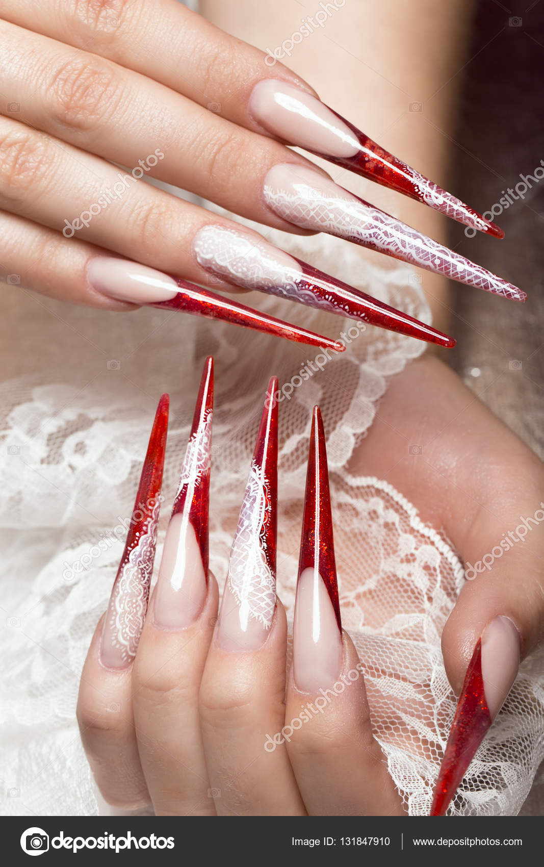 Long Beautiful Manicure With Lace On Female Fingers Nails Design