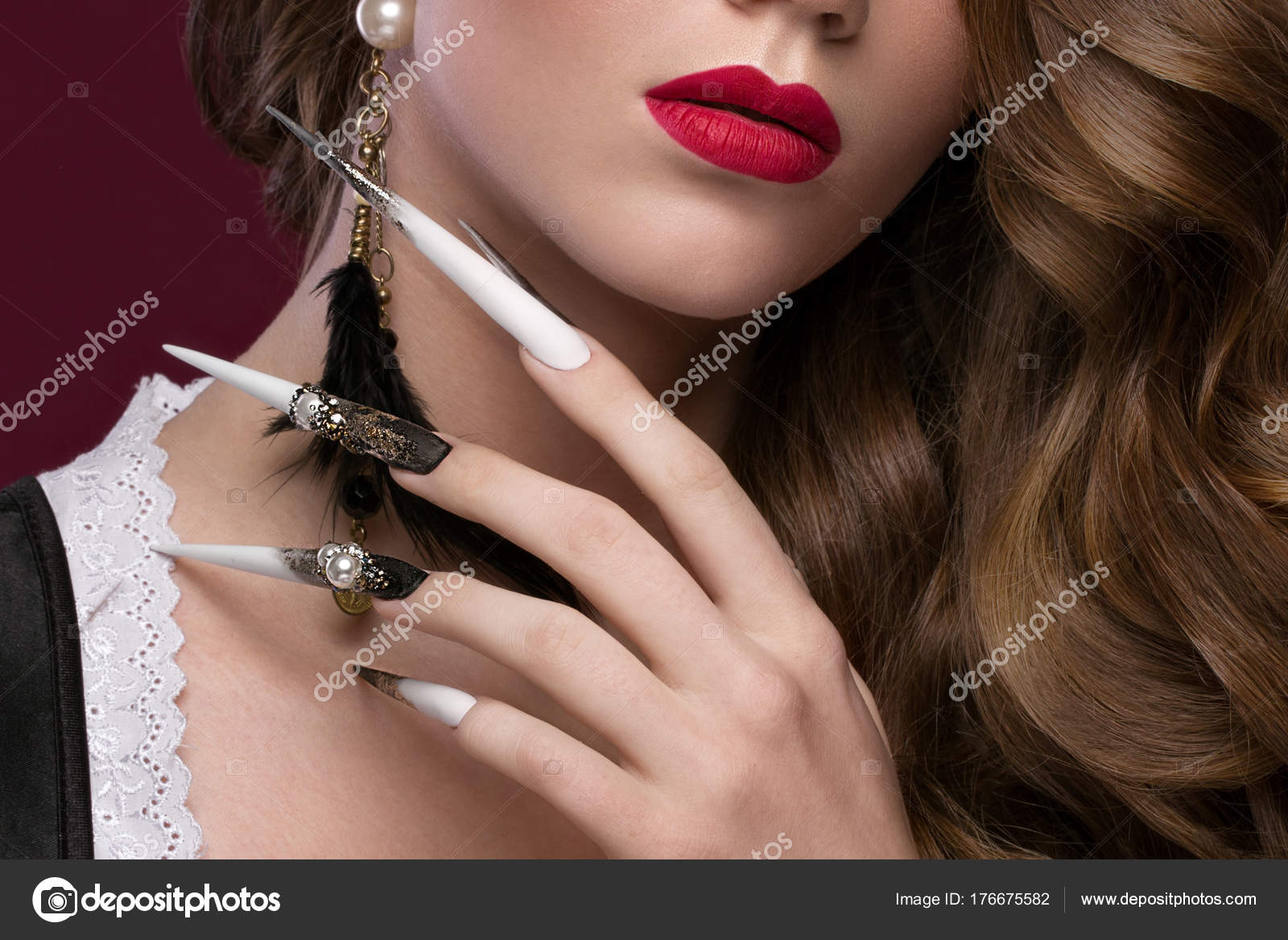 Beautiful redhair model: curls, bright gold makeup, long nails and ...