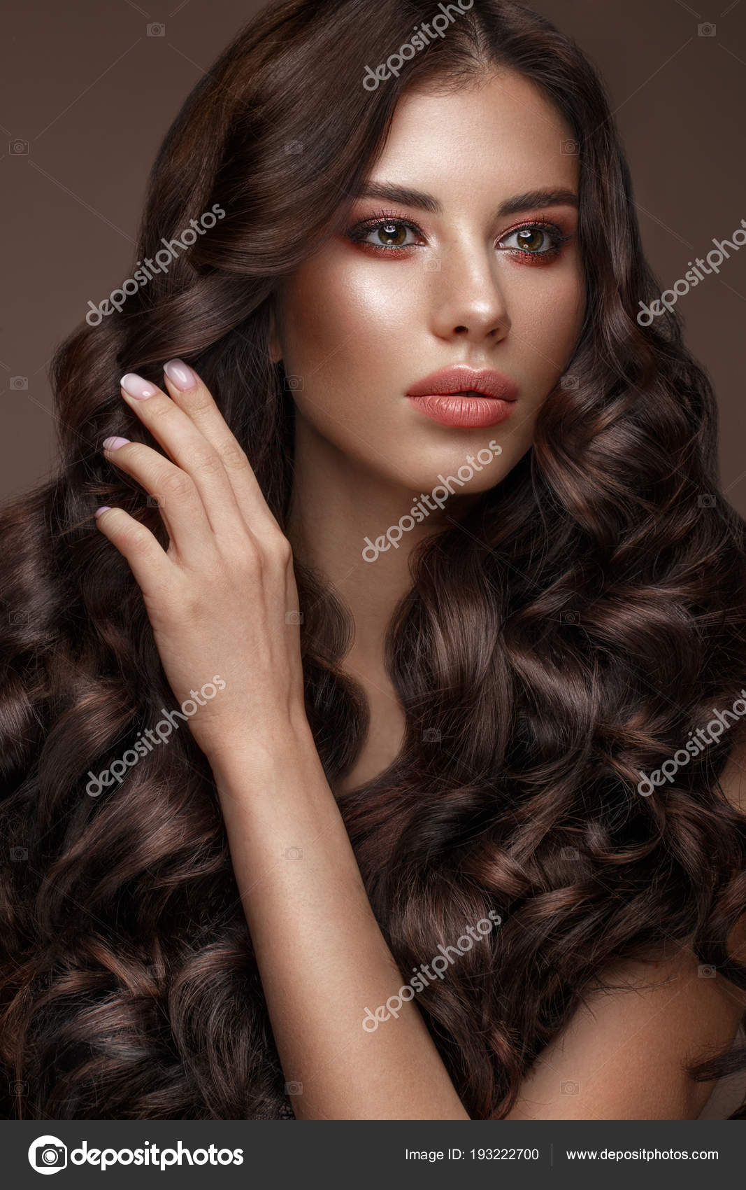 Beautiful Brunette Model Curls Classic Makeup And Full Lips The