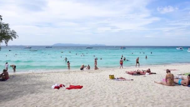 Pattaya, Koh Lan Island Tien Beach, people sunbathe, relax, swim. Pattaya, Thailand 7.12.2017