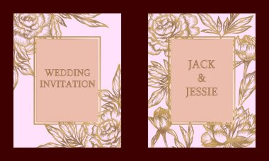 Wedding Invitation with floral print. Golden peonies on pink background. Set of two vector template.