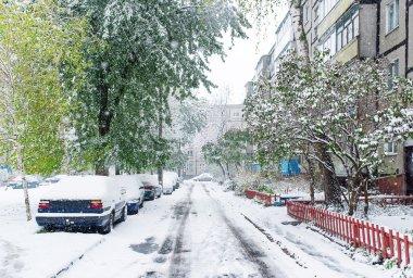 Snow coverd street in Gomel, Belarus.