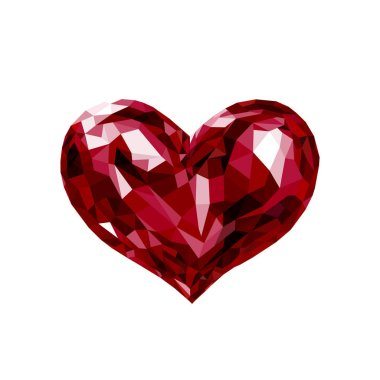 Lowpoly red crystal heart Valentine vector