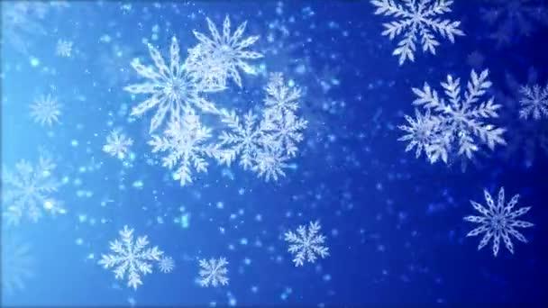 Video animace sněhových vloček padaly modré pozadí