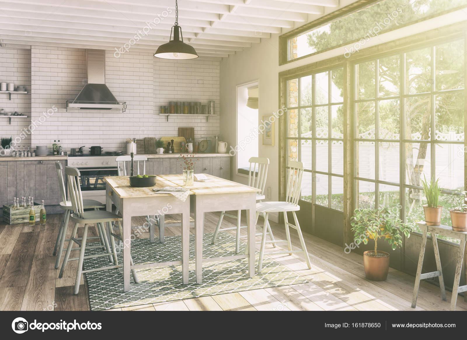 3D Render - skandinavischen Wohnung - Küche - Esszimmer - retro ...