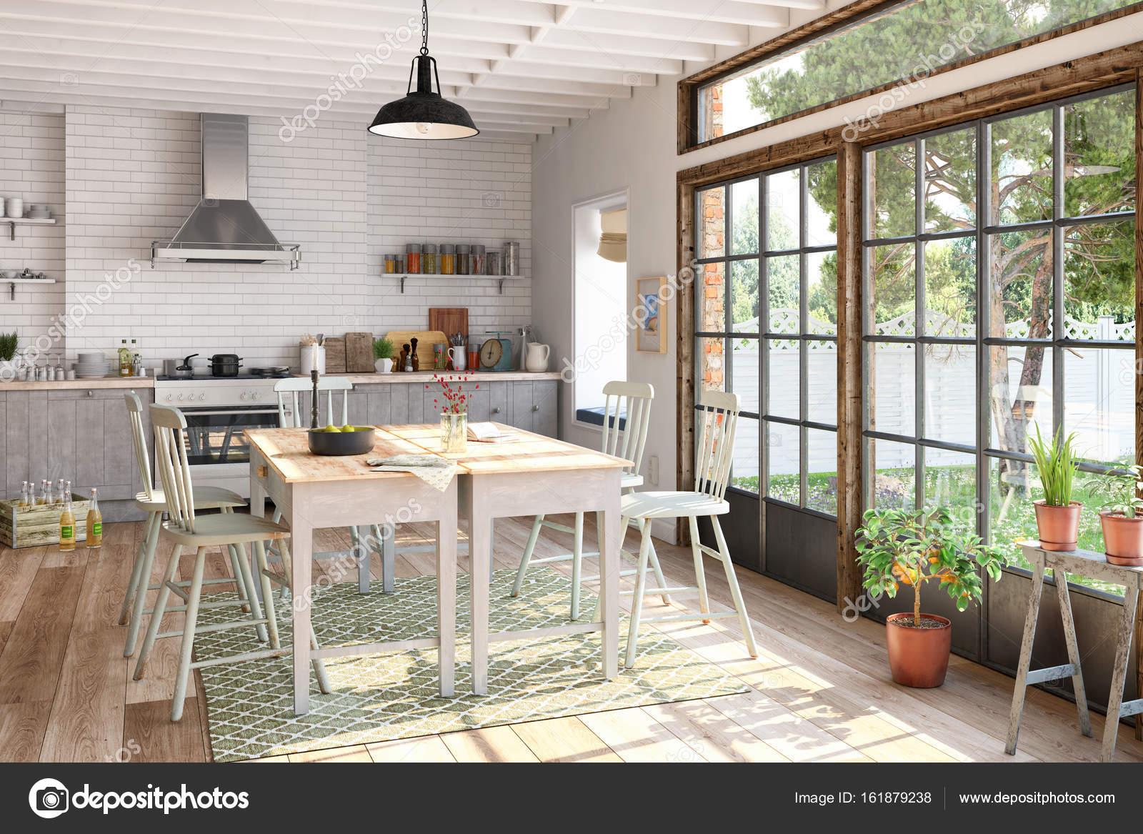 3D Render - skandinavischen WG - Küche - Esszimmer — Stockfoto ...