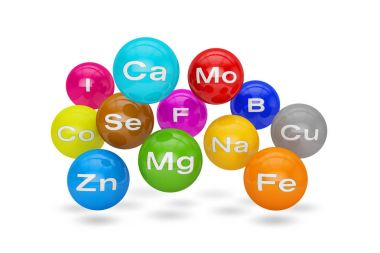 3d render of essential chemical minerals and microelements