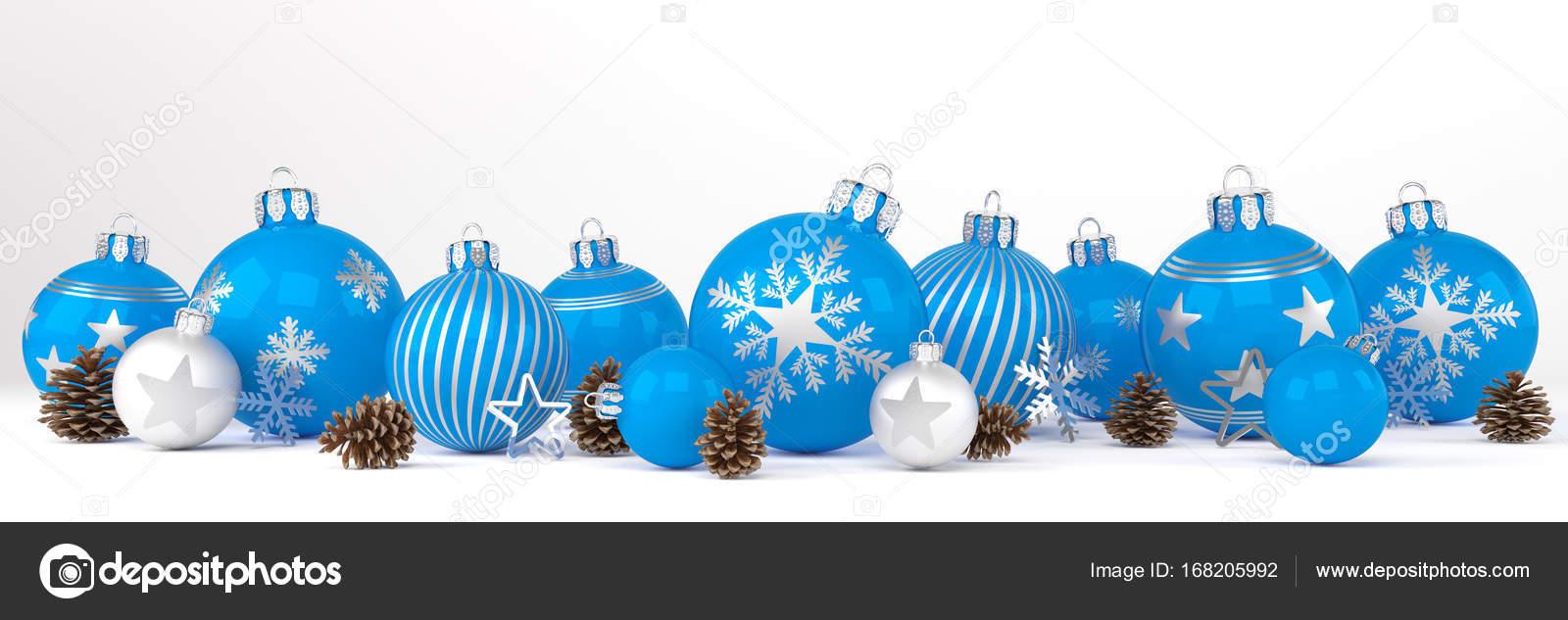 Weihnachtskugeln Blau.3d Render Blau Und Silber Weihnachtskugeln über Weißer Hintergrund