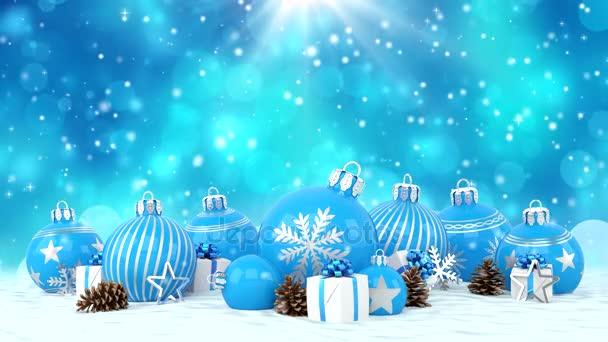 Christbaumkugeln Blau.Blaue Christbaumkugeln über Bokeh Hintergrund