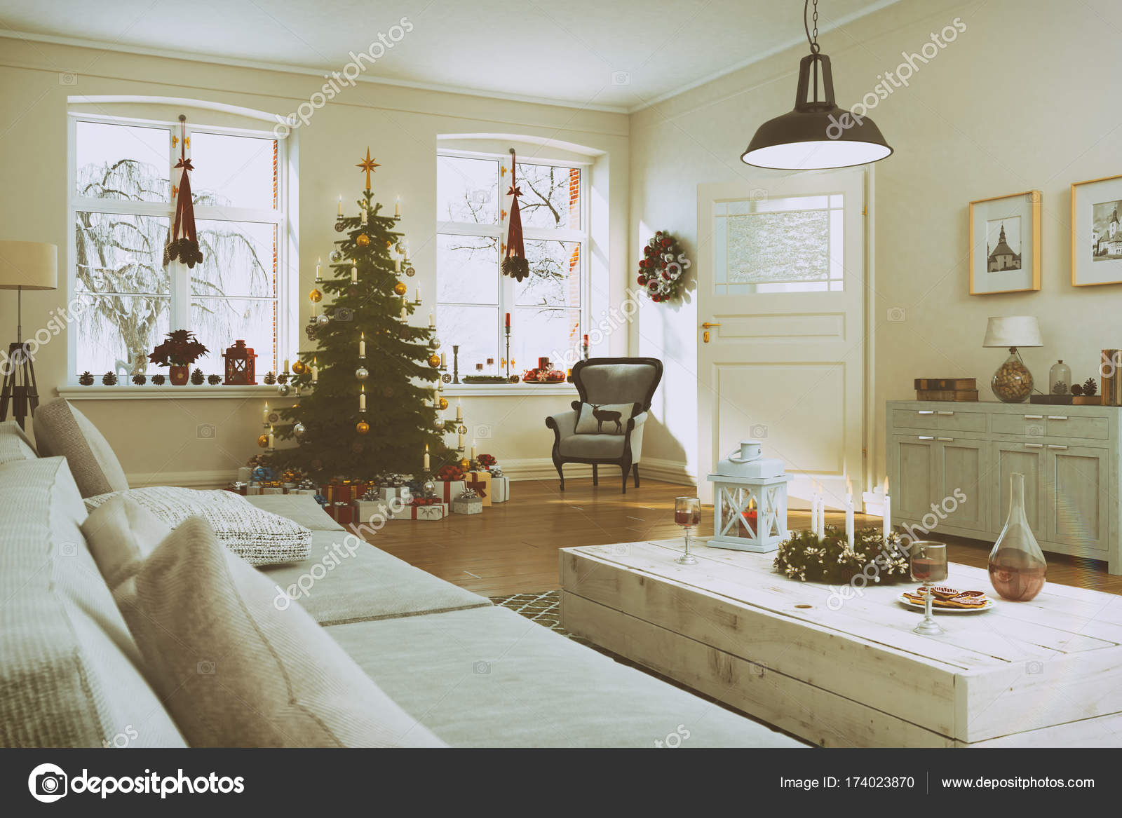 3d Render Aus Einem Nordischen Wohnzimmer Mit Weihnachtsbaum Retro