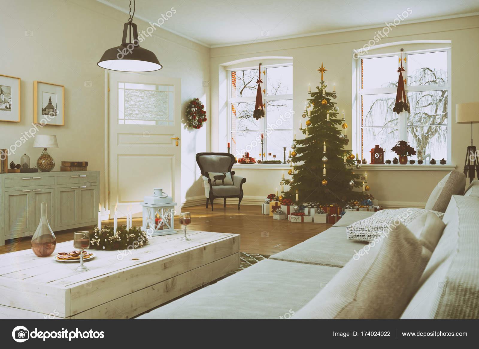 Scandinavische Vintage Woonkamer : D render van een scandinavische woonkamer met kerstboom retro