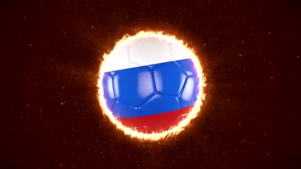 Russia 2018 Football. A burning football with a Russian flag that spins. World Sport Event. 4K Video Animation.