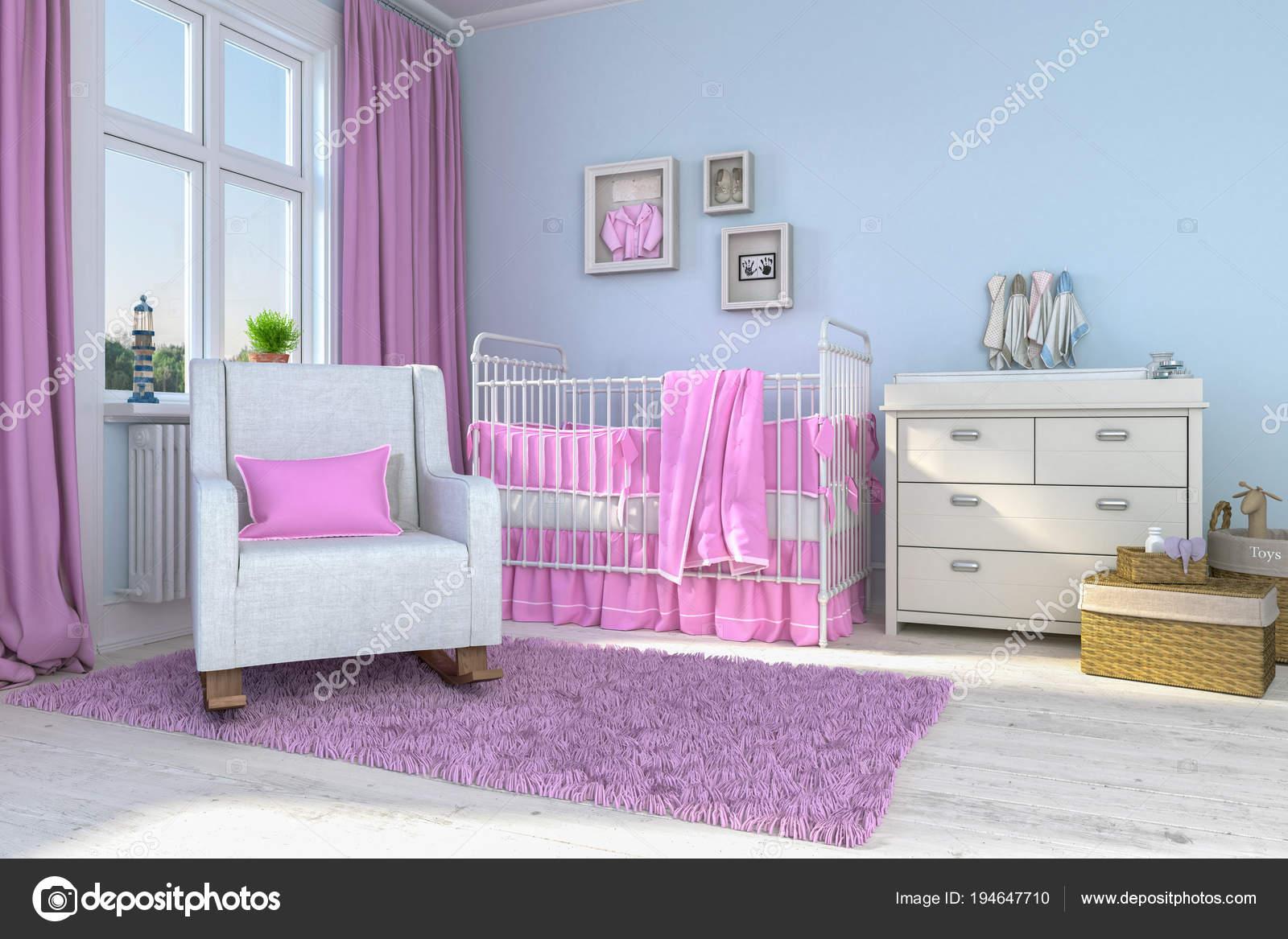 3D Render ein Kinder Zimmer - Mädchen - Babys — Stockfoto © marog ...
