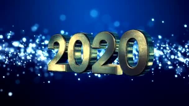 Video animace vánoční zlaté světlo svítí částice bokeh nad modrým pozadím a čísla 2020 - představuje nový rok - dovolená koncept