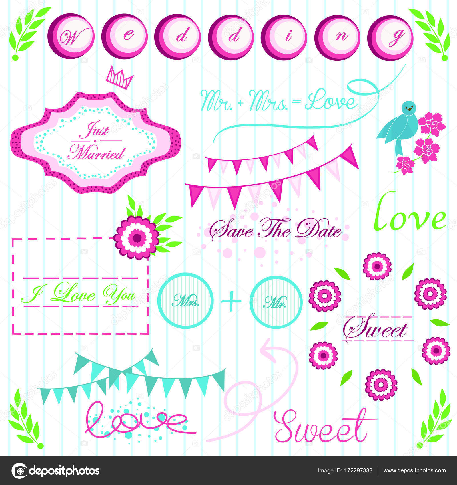 Bright pink green and blue Interesting elements for wedding ...