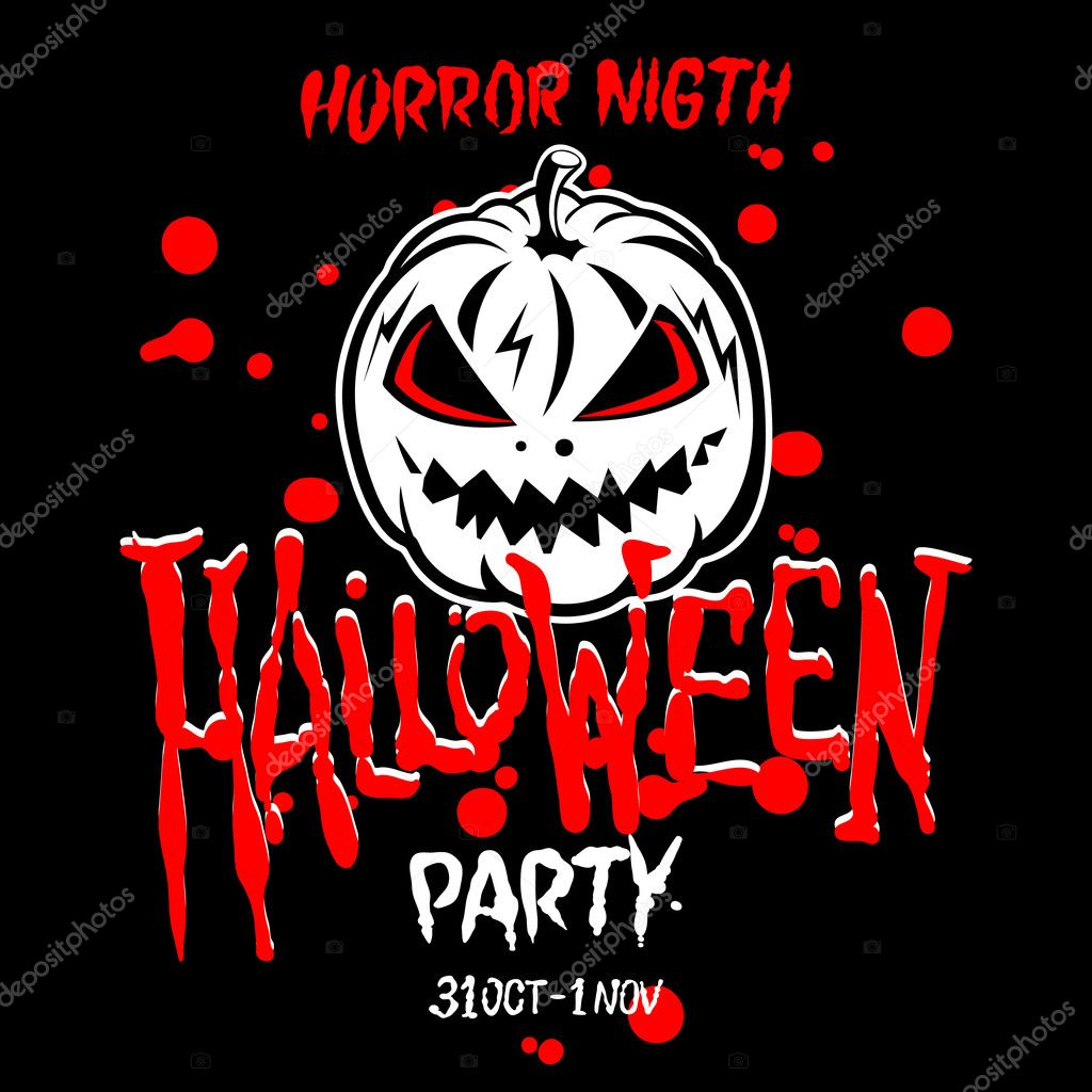 halloween party design template with pumpkin and place for text