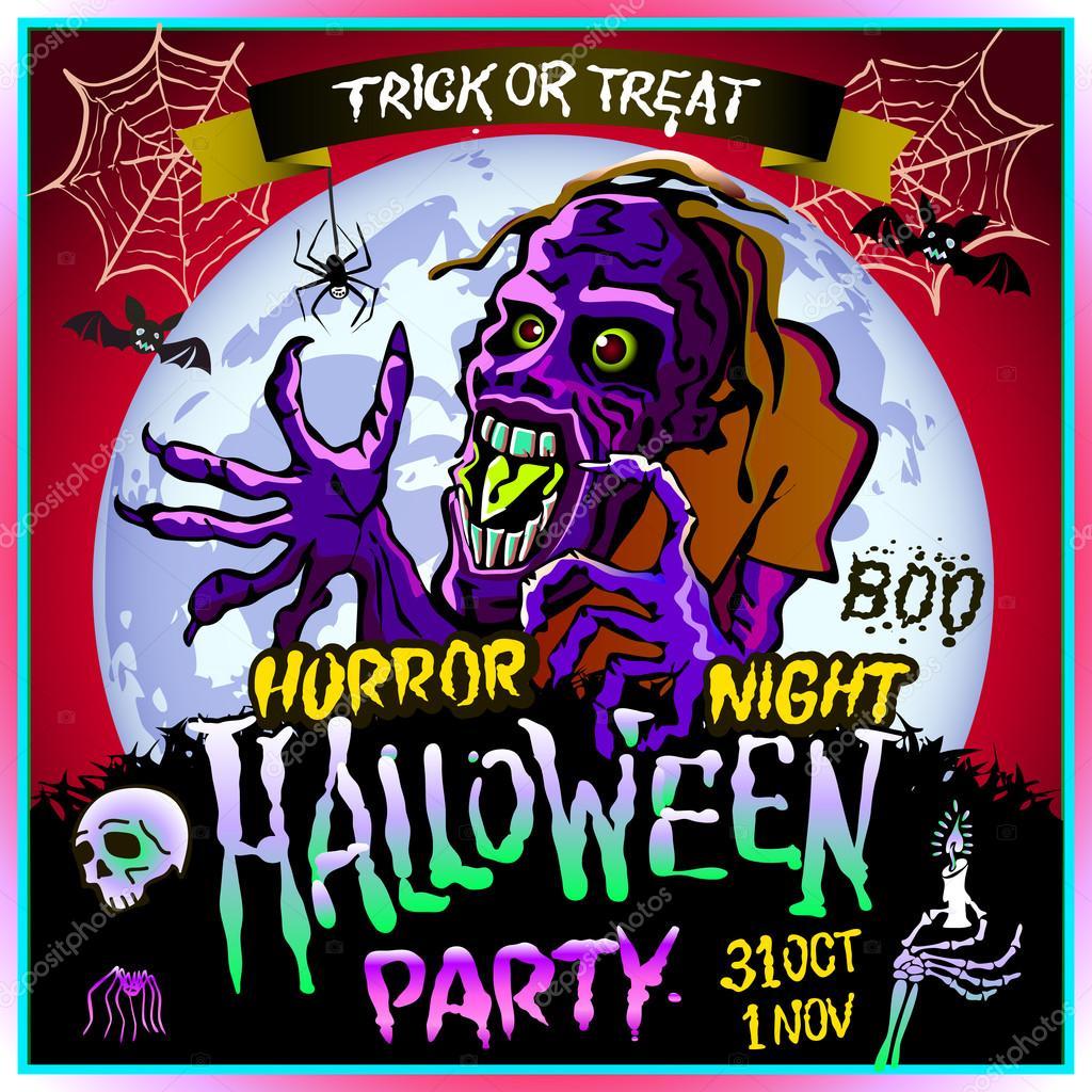 31 Oktober Halloween Feest.Zombie Sluipt Omhoog Op De Achtergrond Van Een Volle Maan