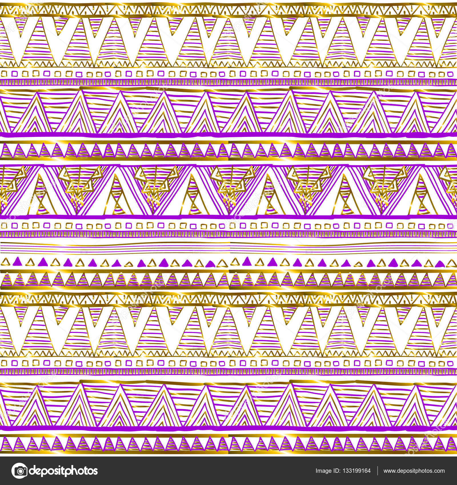 Golden ethnic seamless pattern Tribal motifs Black pink and gold