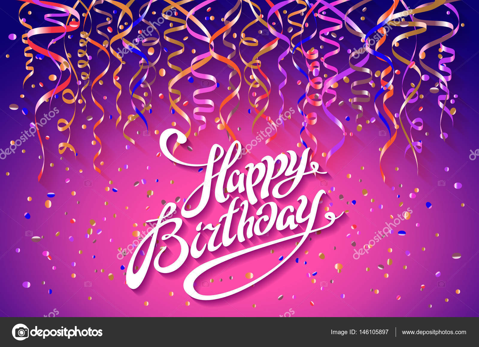 happy birthday card template confetti holiday background top view