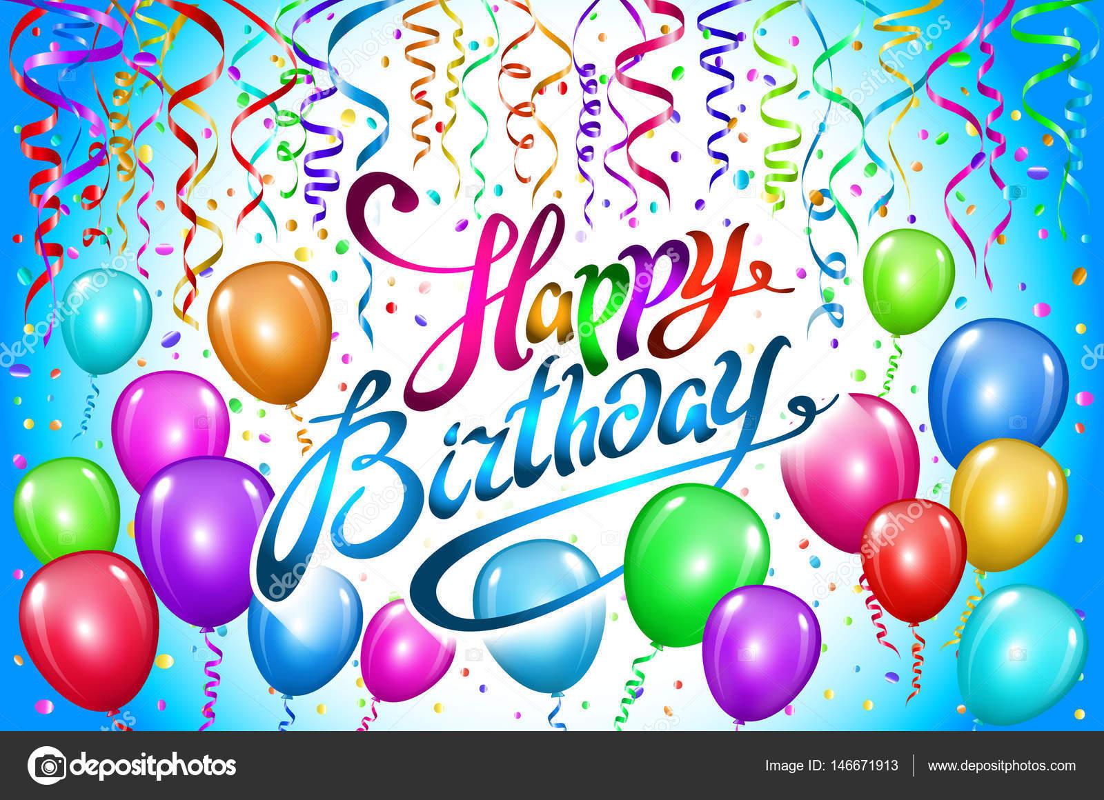 Gelukkige Verjaardag Ballonnen Kleurrijk Ballon Sparkles Vakantie
