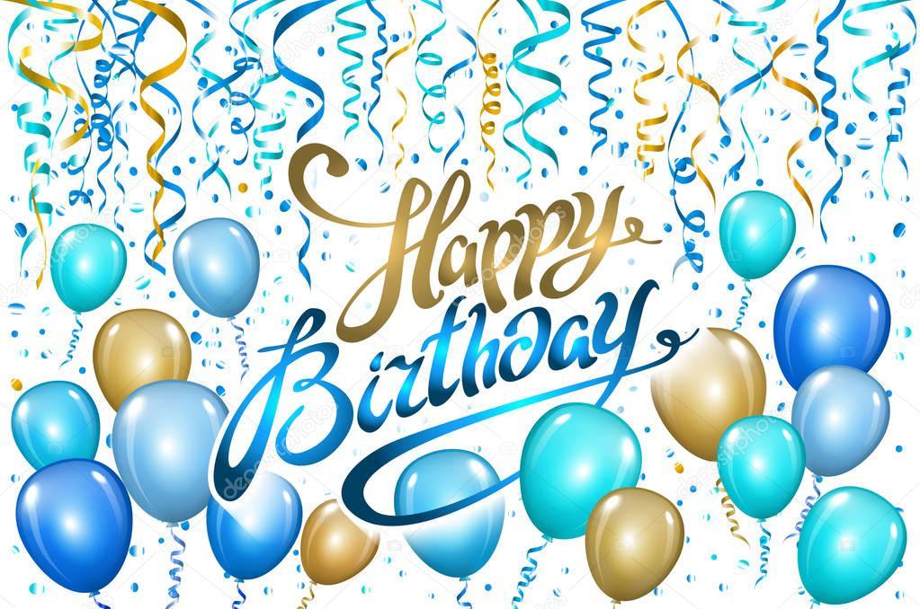 balloons happy birthday on black gold blue balloon