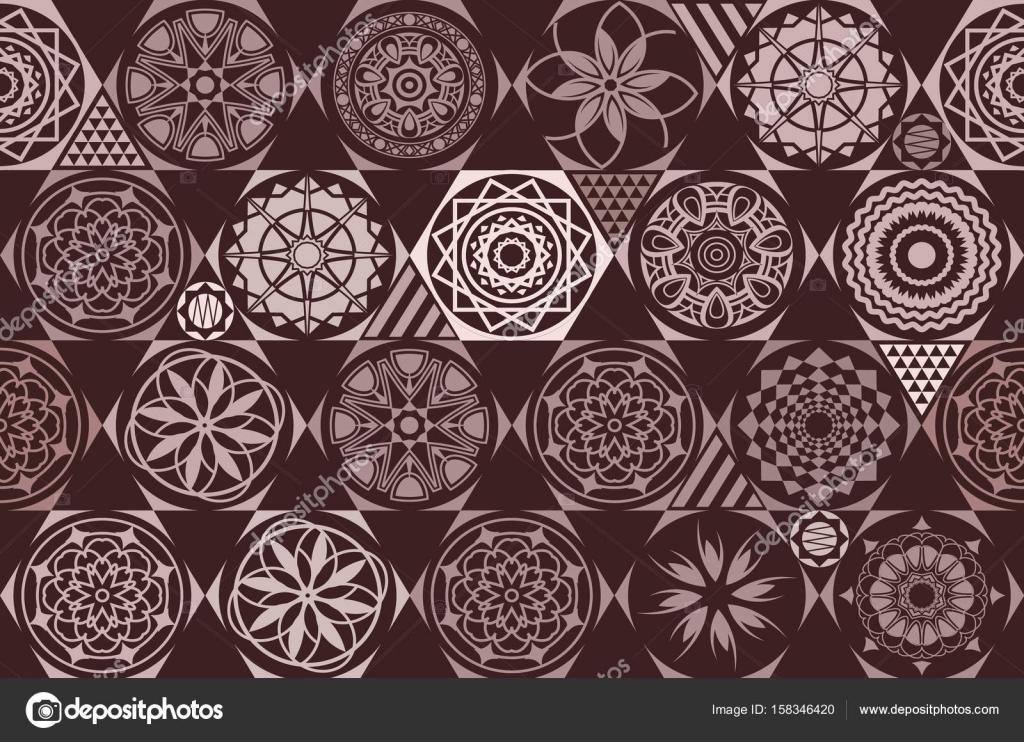 Marrone mattonelle di ceramica senza giunte con patchwork
