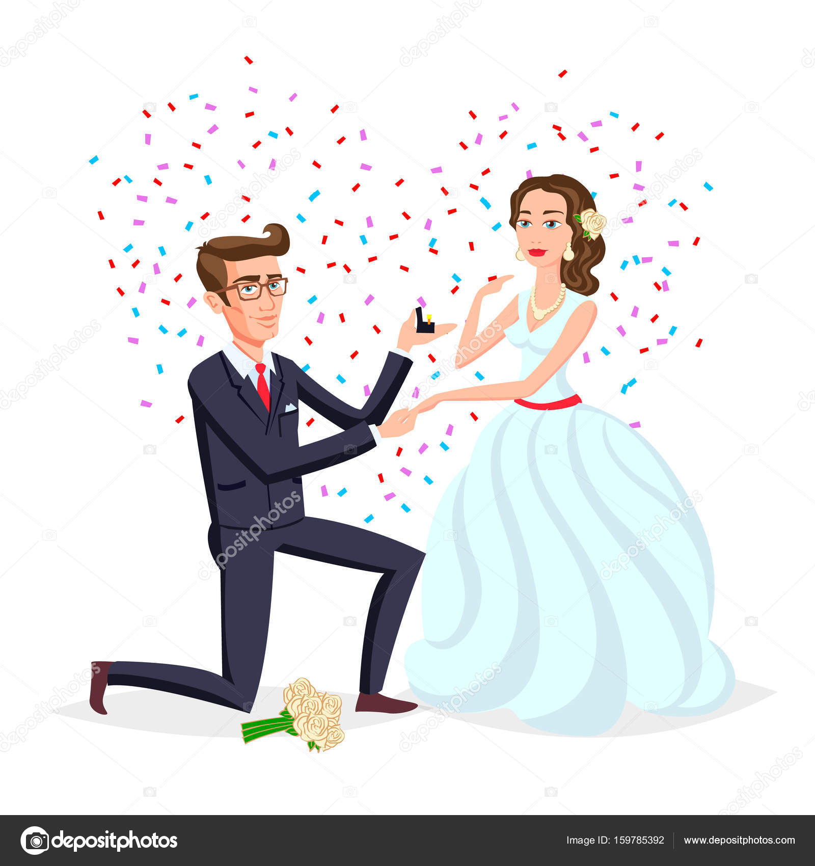 Bride And Groom As Love Wedding Couple Illustration Cartoon Husband