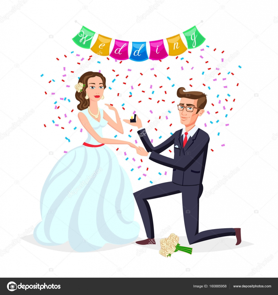 Bride and groom as love wedding couple illustration cartoon husband bride and groom as love wedding couple illustration cartoon husband and romantic wife ceremony female with flowers marriage ceremony invitation card stopboris Choice Image