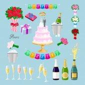 Nastavte svatební dort s pár vektoru. Novomanželé, brýle, šampaňské, dárky, růže, květiny, prsteny, nápis, vlajky, streaming