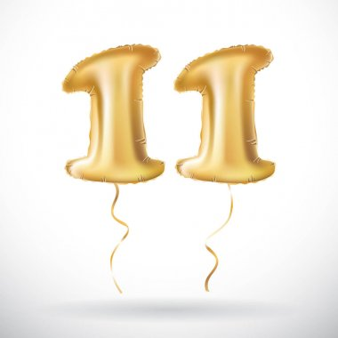 vector Golden number 11 balloon. Decoration for eleven years birthday, anniversary. made of inflatable balloon with golden ribbon isolated on white background