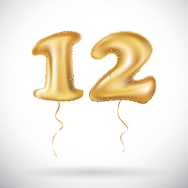 vector 12 Anniversary celebration with Brilliant Gold balloons & colorful alive confetti. twelve 3d Illustration design for your unique anniversary background, invitation, card, Celebration party the
