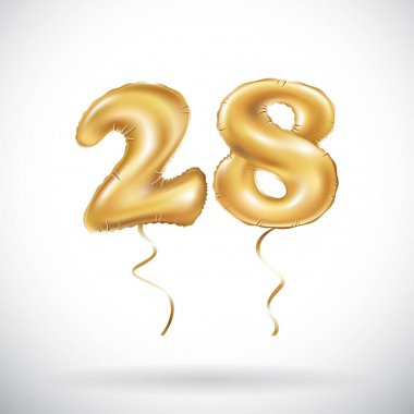 vector Golden number 28 twenty eight metallic balloon. Party decoration golden balloons. Anniversary sign for happy holiday, celebration, birthday, carnival, new year.