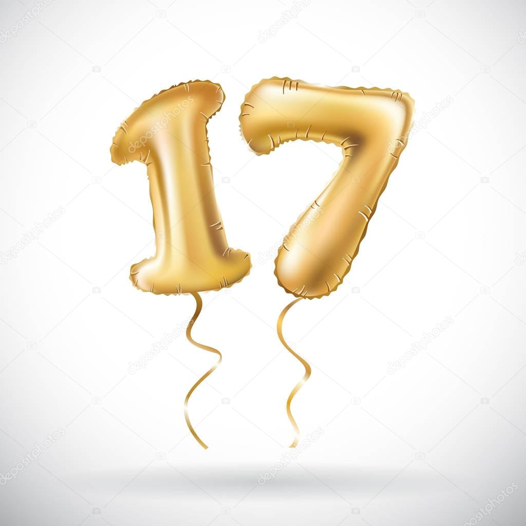 vector Golden number 17 seventeen metallic balloon. Party decoration golden balloons. Anniversary sign for happy holiday, celebration, birthday, carnival, new year.