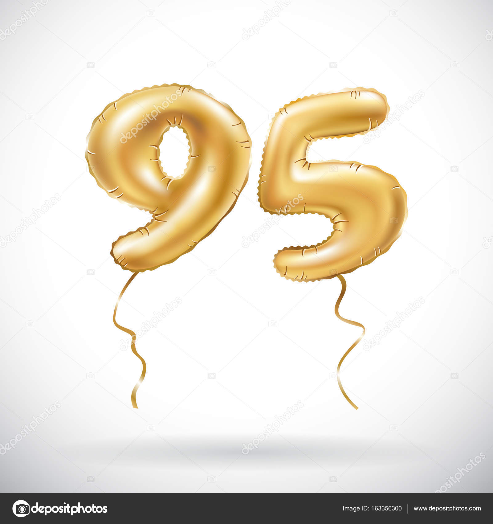 Vector golden number 95 ninety five metallic balloon for 95 decoration