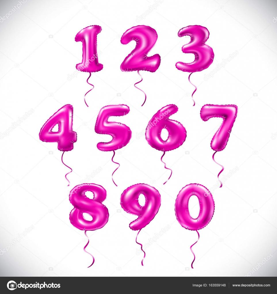 Vector rosa número 1, 2, 3, 4, 5, 6, 7, 8, 9, 0 globo metálico ...