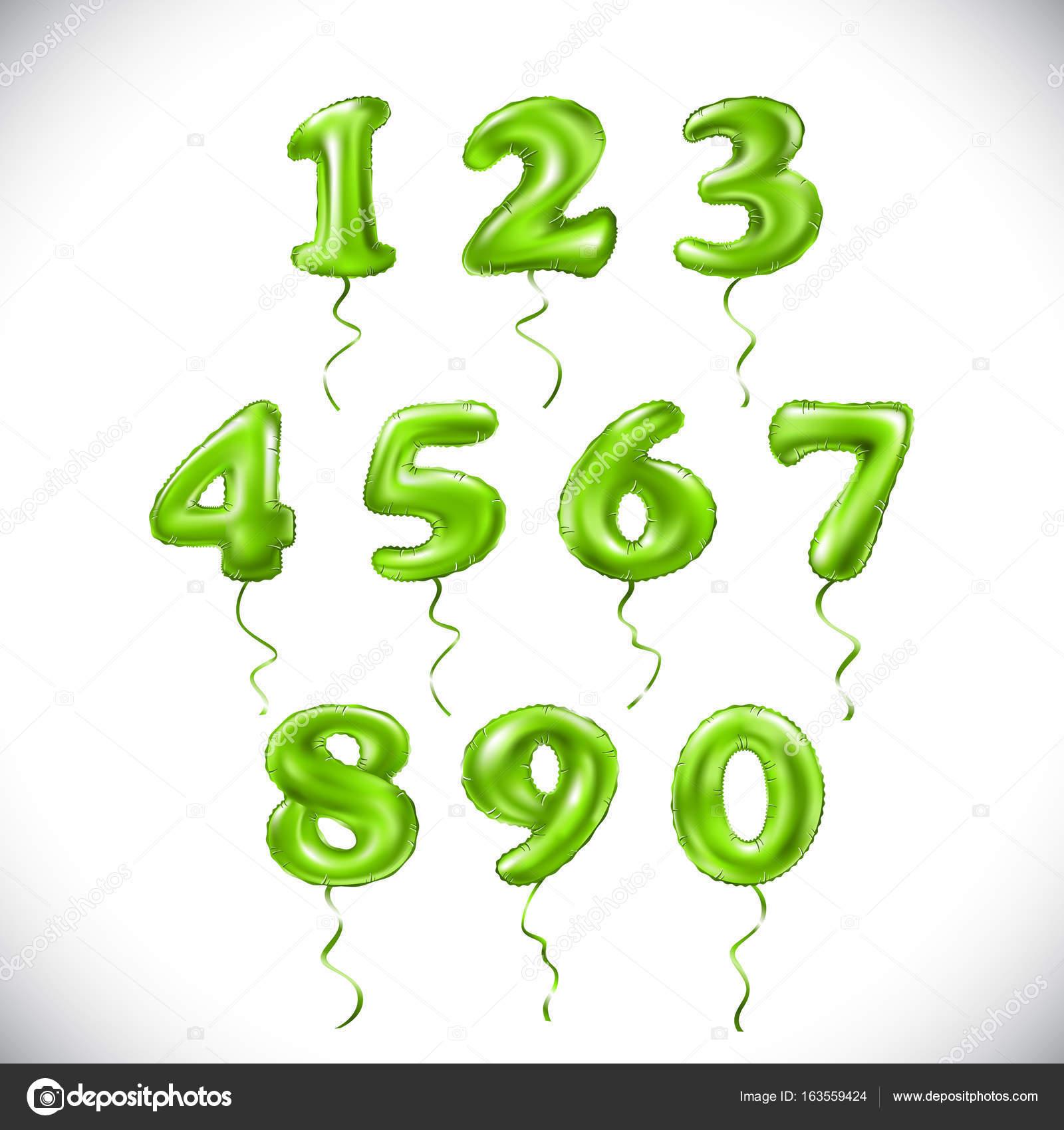 Vector verde número 1, 2, 3, 4, 5, 6, 7, 8, 9, 0 globo metálico ...