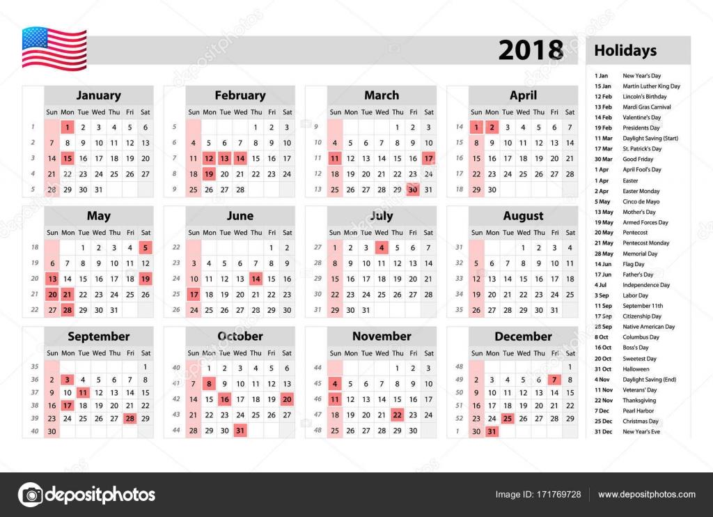 USA kalendarz 2018 - święta państwowe i dni wolne od pracy