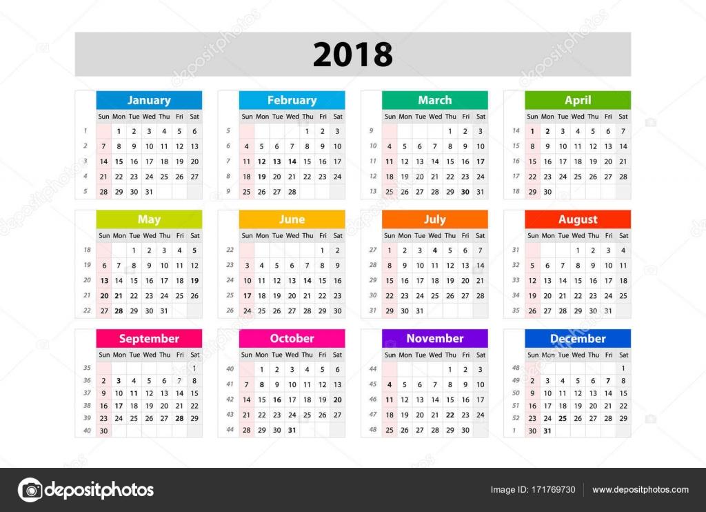 bureaukalender voor 2018 jaar. print ontwerpsjabloon vector. week