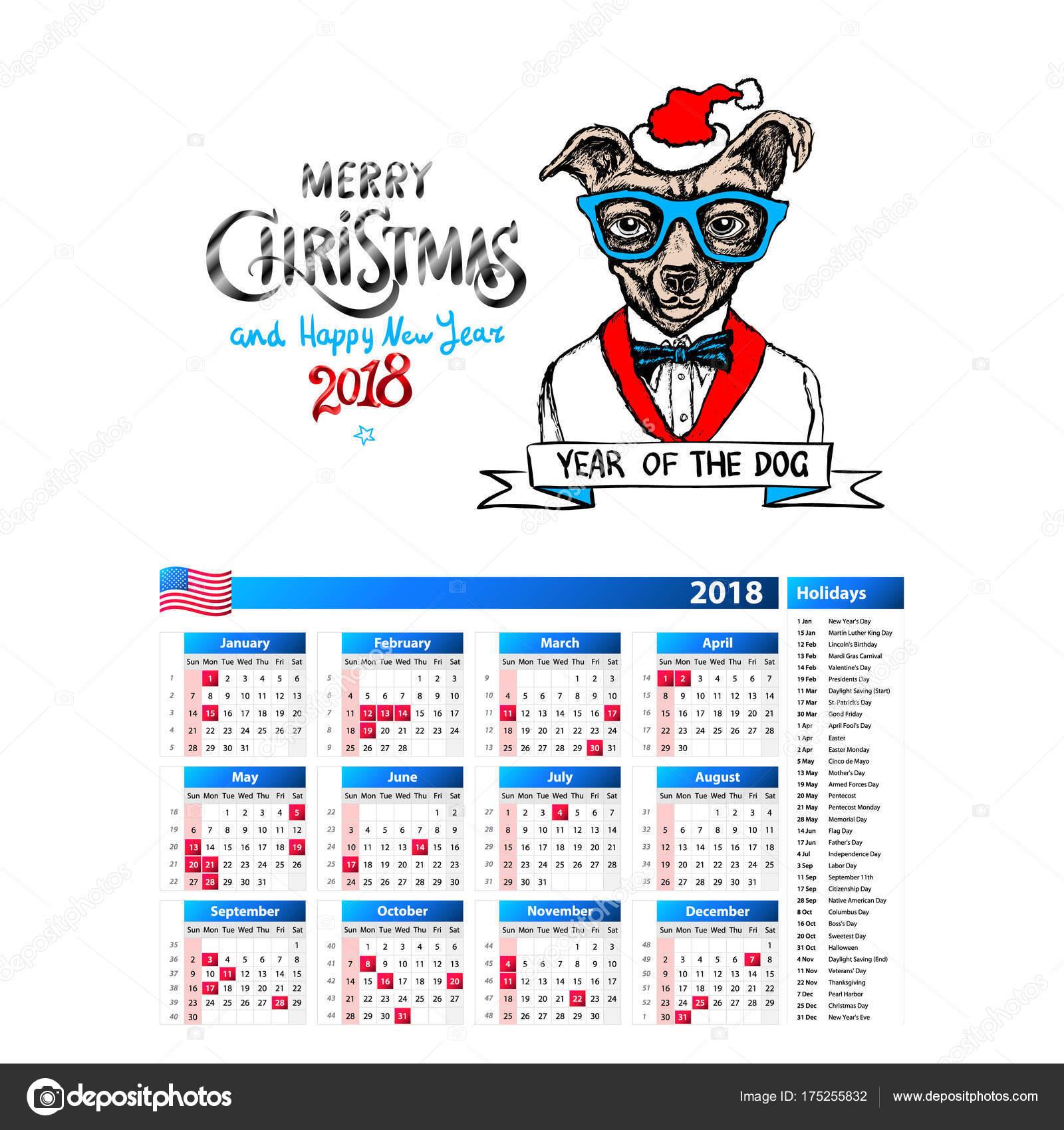 Hund als Santa Porträt Kalender 2018 Design, das Jahr des Hundes ...