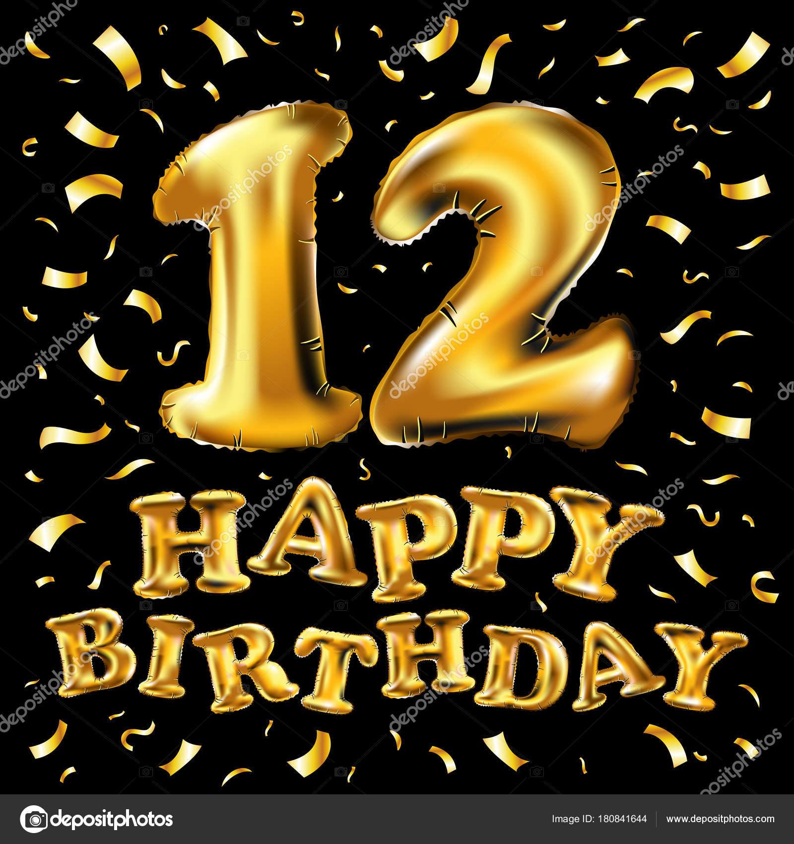 verjaardag 12 jaar 12 jaar verjaardag viering ontwerp. met confetti, ballon en vlag  verjaardag 12 jaar