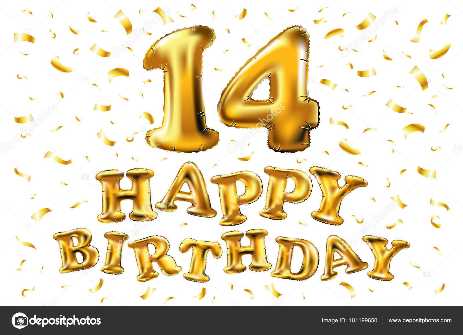 Vecteur De 14 Ans Joyeux Anniversaire Joie Celebrations