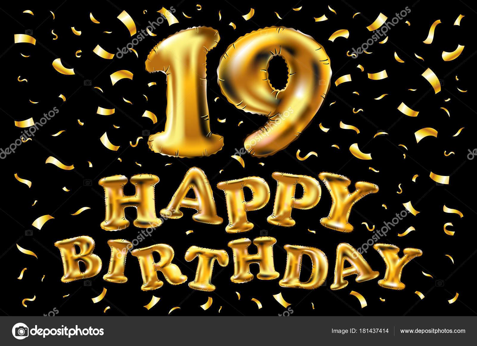 19 Jaar Verjaardag Met Goud Gestileerde Nummer En Confetti