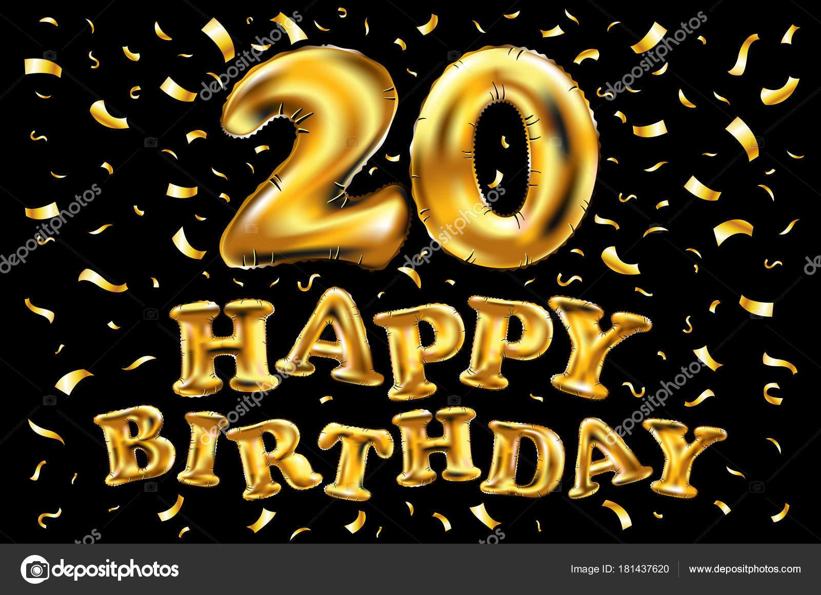 födelsedag 20 år vektor födelsedagen 20 år gyllene tjugo ballong logotyp  födelsedag 20 år