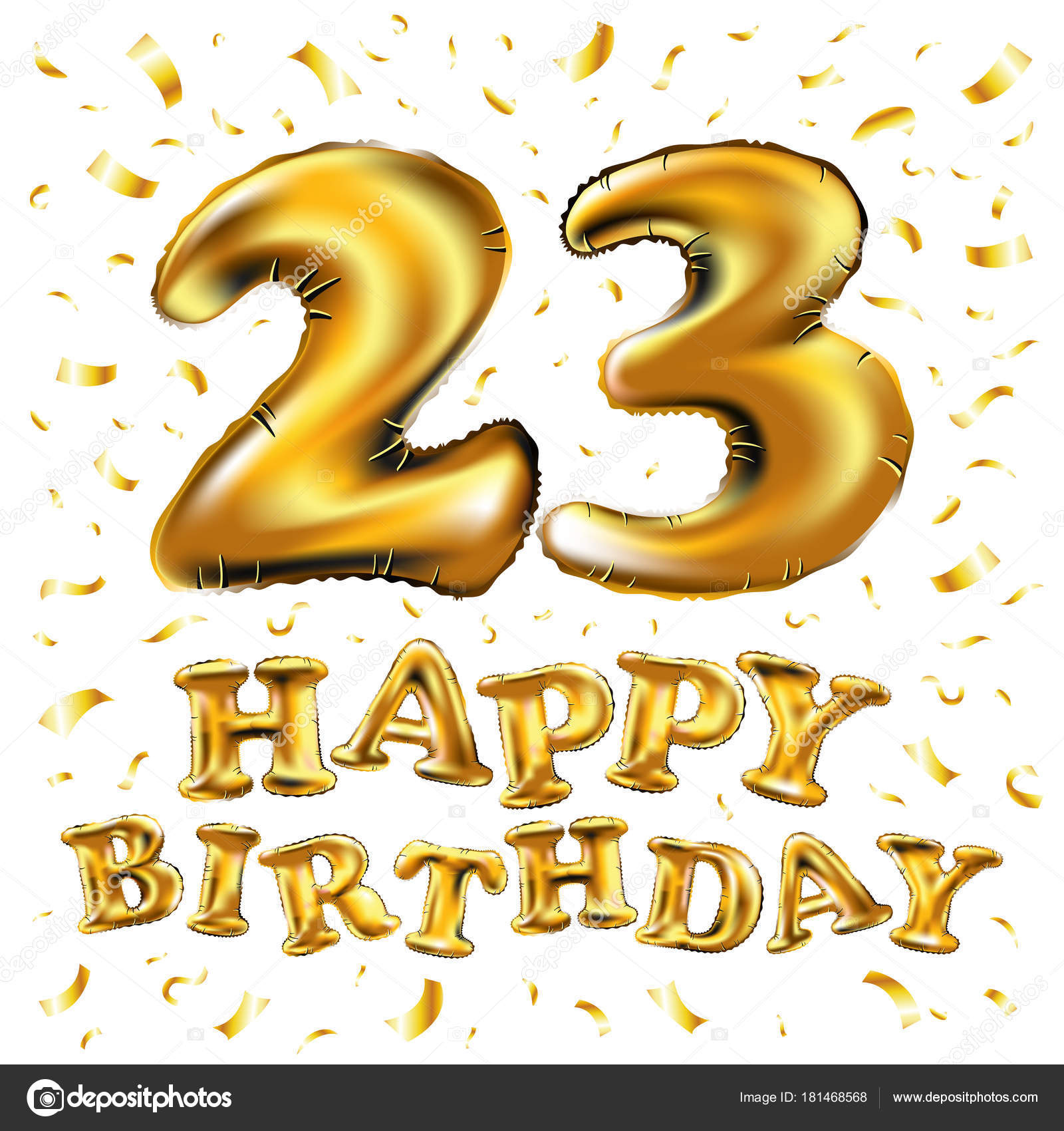 Vector Happy Birthday 23rd Celebration With Gold Balloons And Golden Confetti Glitters 3d Illustration Design